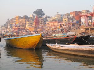 A picture taken from a boat shows the steps of the Ganges in Varanasi.