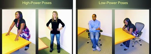 2 High power poses are shown against low power poses. This simple body language change shows how you can change your emotional state by changing your body language.