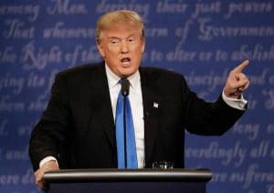 Donald Trump is shown at the first 2016 presidential election. Trump's psychology of persuasion differs greatly from Hilary Clinton.