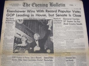 A picture of a newspaper from 1952 when Dwight D. Eisenhower won the presidential election. He used innovative psychology of persuasion techniques to appeal to was audiences.