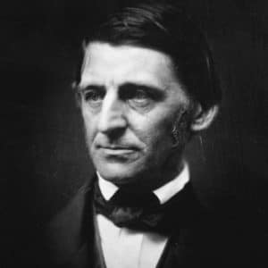 A picture of the great 18th century poet Ralph Waldo Emerson is shown.