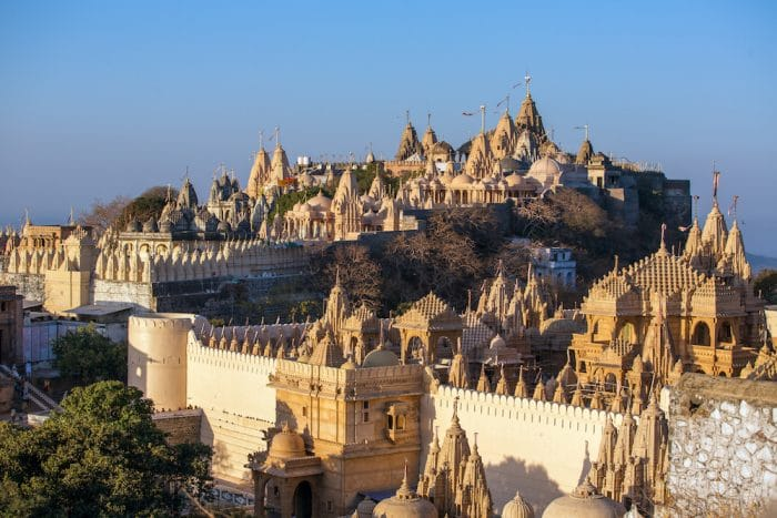 Jain temples are pictured on top of the Shatrunjaya hill. Palitana is one the many sacred cities of India.