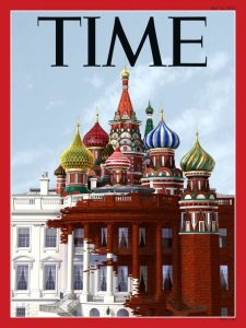 An image shows the cover of Time Magazine's 2017 issue that looked into the Trump Russia situation that has been gripping the attention of America. The cover is an illustrated picture which blends the White House and famous Russian architecture together.