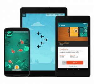 An image shows a phone, small tablet and large tablet all with Lumosity Mobile games on the screens.