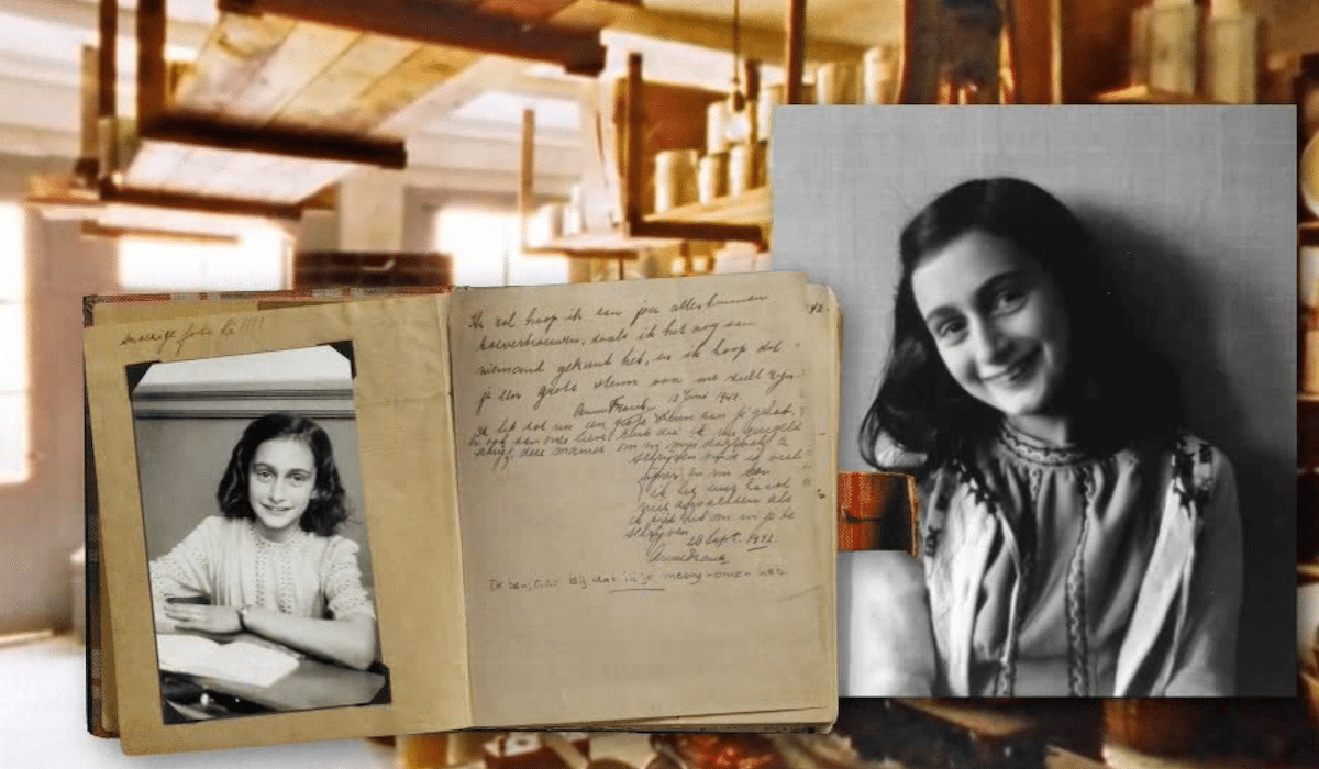 A Collage Of Images Is Seen With The Background Being Anne Frank S Apartment In Amsterdam