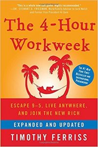 An image shows the cover of Tim Ferriss' book The 4-Hour Workweek.