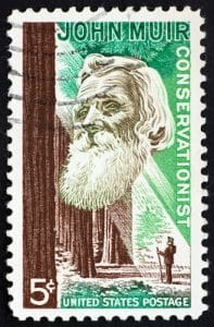 a 1964 U.S. stamp that was dedicated to John Muir is shown. This picture is featured in Balanced Achievement's article highlighting 20 John Muir quotes.