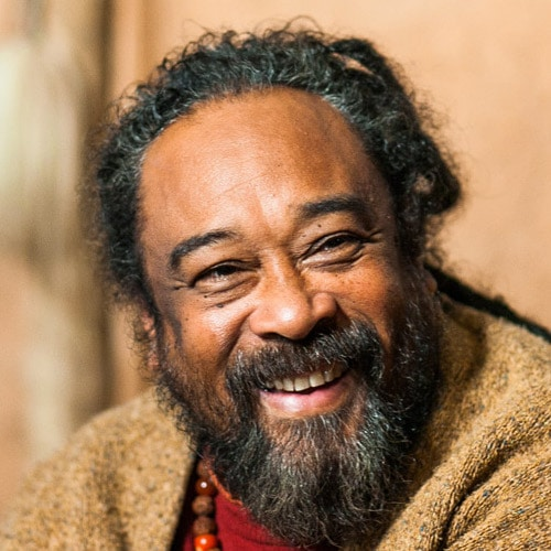 A headshot image shows the great spiritual teacher Mooji smiling.