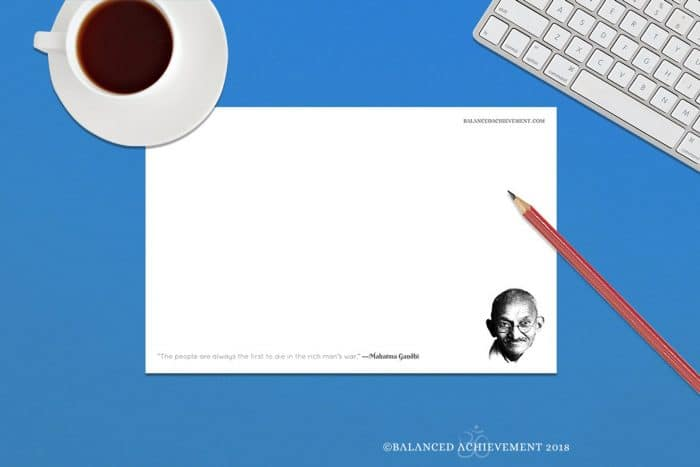 An image shows a Mahatma Gandhi QuotePad which can be bought at Balanced Achievement's Etsy shop.